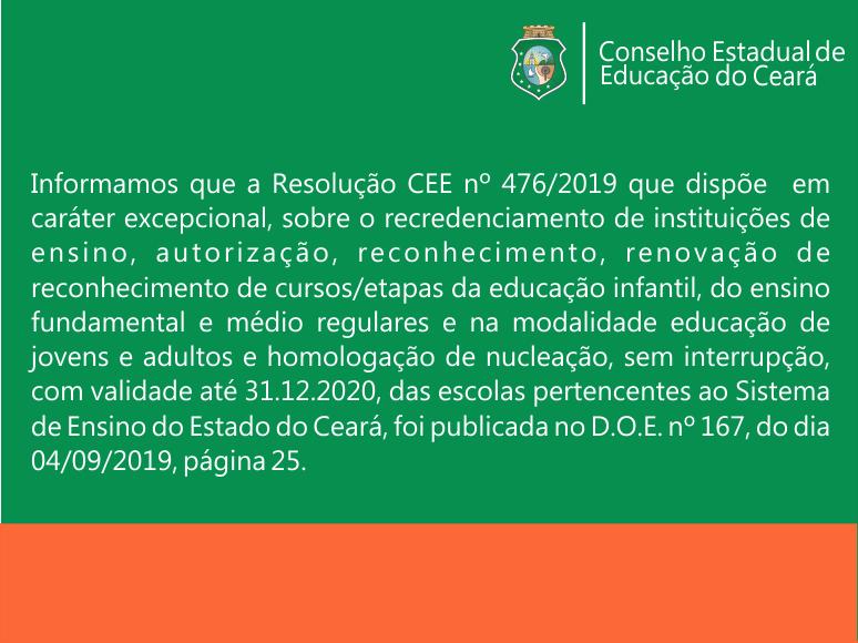Resolução CEE nº 476/2019 publicada